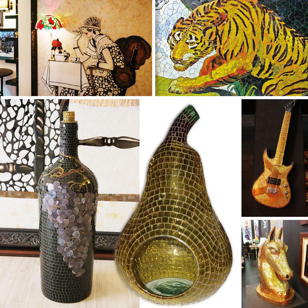 Mosaik Auftragskunst mit modernen Motiven