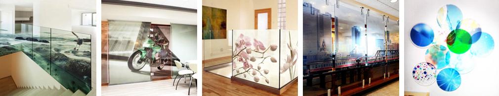 Bedruckte Glasbilder, Kundenbeispiele mit Glas als Raumteiler oder Glastür