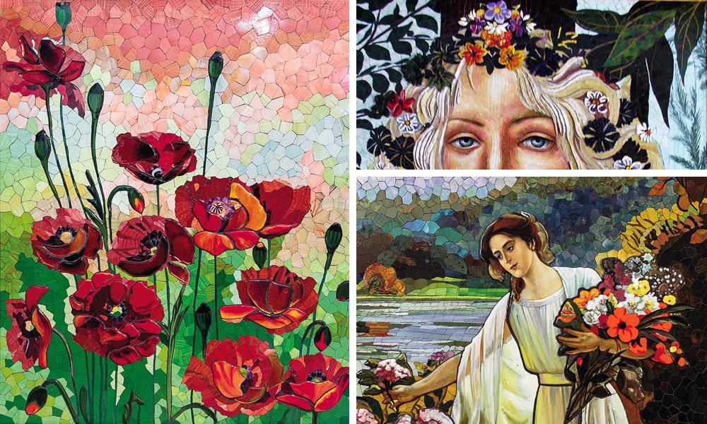 Blumen Wandbilder in Mosaiktechnik