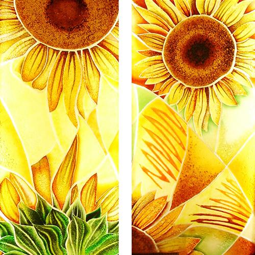 Glasmalerei mit Sonnenblumen