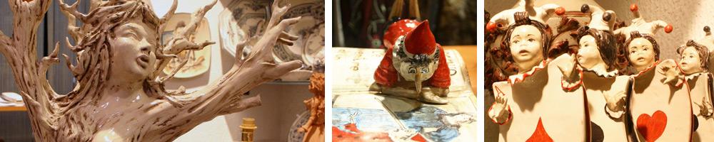 Keramik Skulpturen mit kunstvoll ausgeführter Detailarbeit