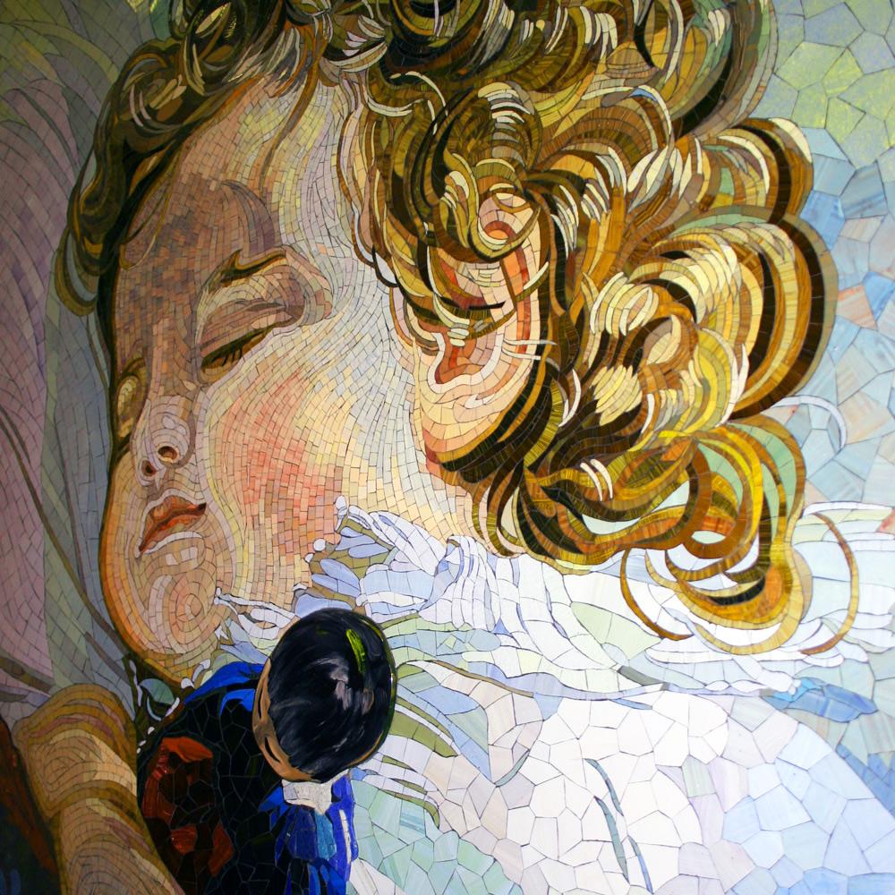 Mosaik mit schlafendem Jungen, Detailansicht