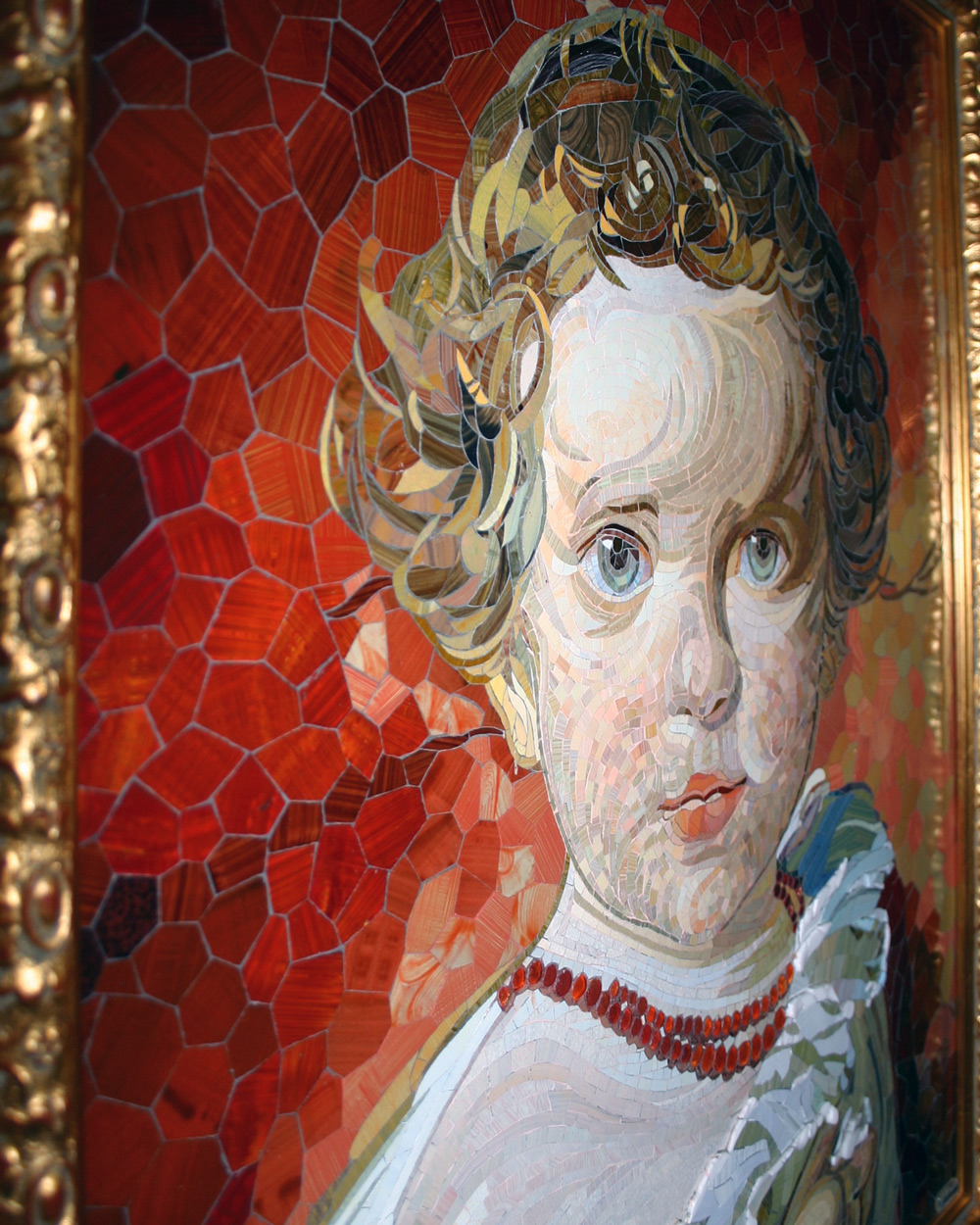 Mosaik mit Kinderportrait, Detail