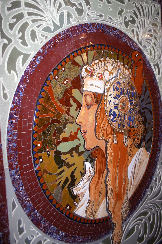 Mosaik, Byzantinischer Kopf nach Alphonse Mucha