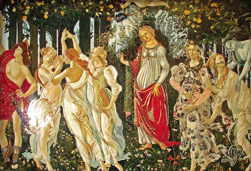 Großformatiges Mosaik nach Botticelli