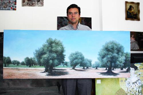 Landschaftsgemälde Olivenbäume