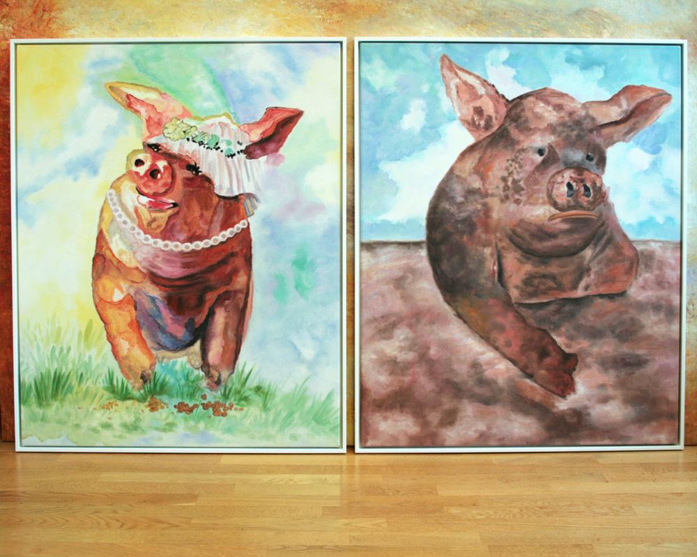 zafrane München Auftragsmalerei mit Schweinen