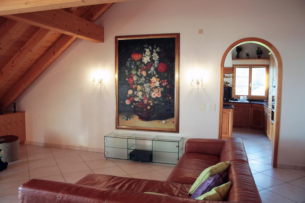 Kopie in Öl auf Leinwand nach Bruegel, Blumen in einer Keramikvase