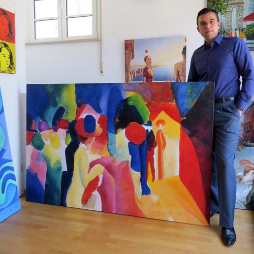 Expressionistisches Gemälde von uns handgemalt in Öl auf Leinwand