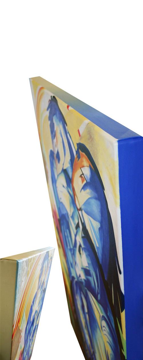 Expressionistisches Gemälde nach Franz Mark mit bemalten Seitenrändern
