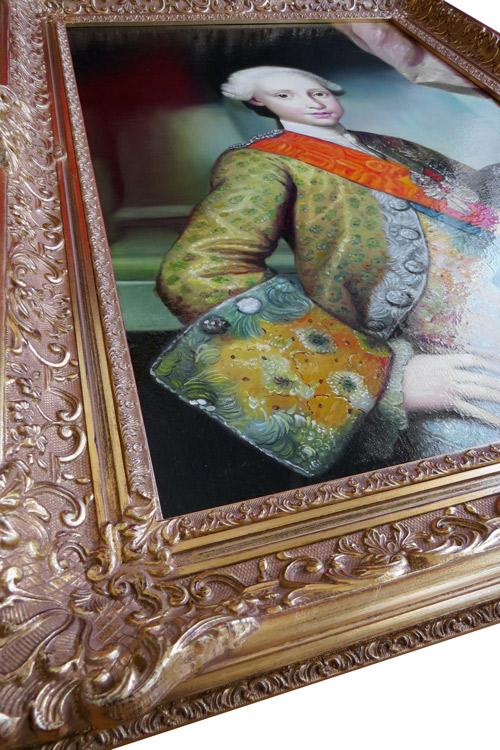 Schrägansicht der Gemäldekopie mit Glanz nach Mengs