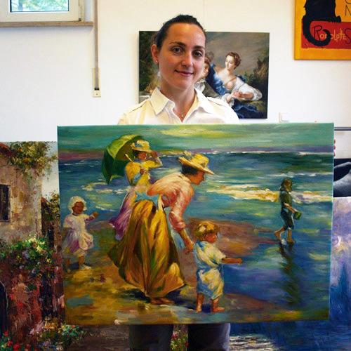 Impressionismus Gemälde am Strand von Potthast