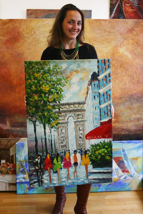 Impressionistisches Ölbild, mit dem Malmesser gemalt