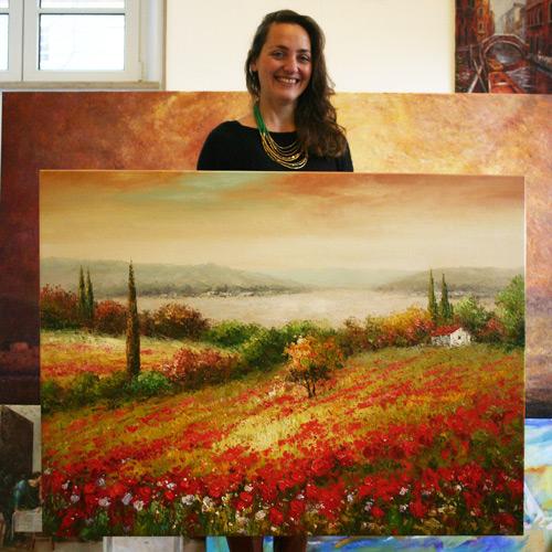 Impressionistische Landschaft mit Malmesser