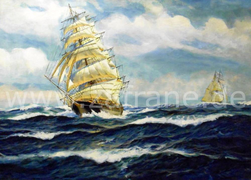 Segelschiffe in Öl auf Leinwand