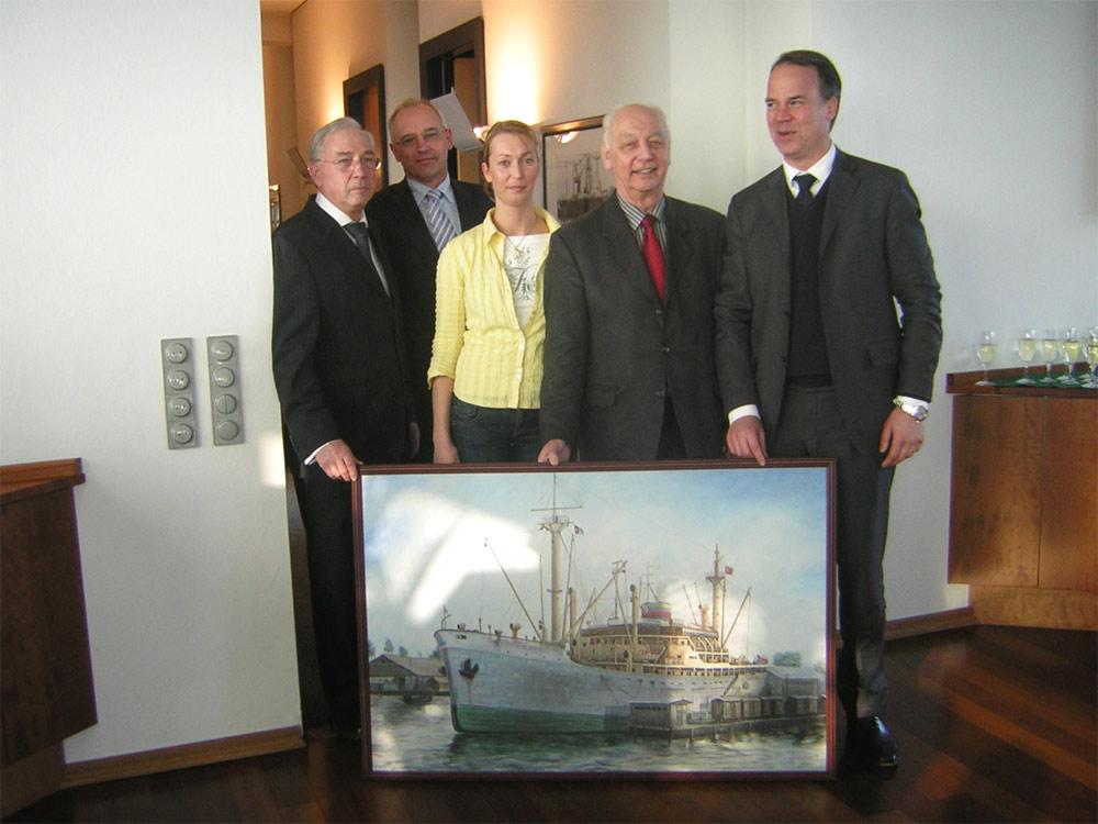 Maritimes Ölbild mit Schiff für eine Reederei