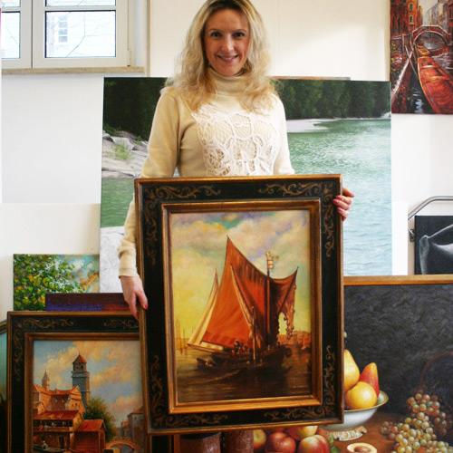 Maritimes Gemälde mit Segelschiff