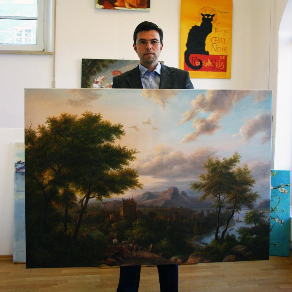 Landschaftsmalerei mit Burg im niederländischen Stil