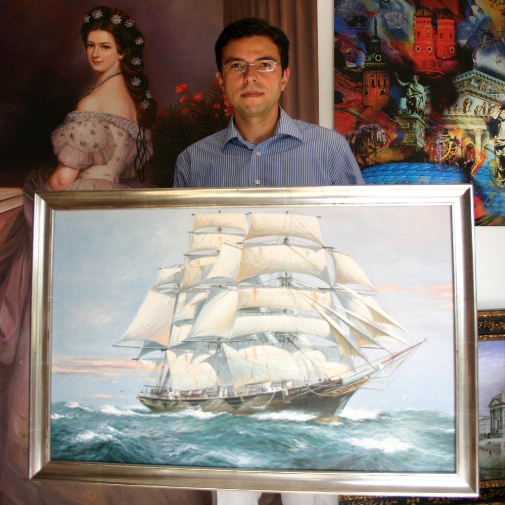 Segelschiffgemälde in Öl auf Leinwand im Silberrahmen Dresden