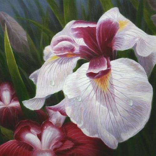 Detailliertes Blumengemaelde