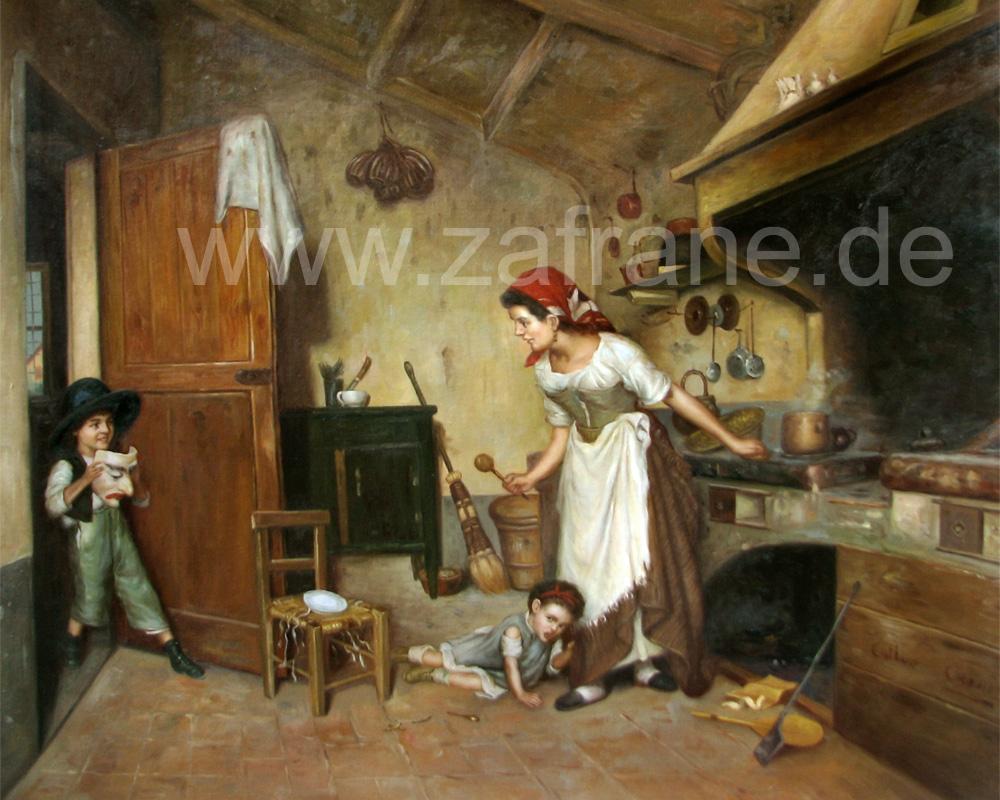 Klassische Gemäldekopie nach Gaetano Chierici Der Schabernack