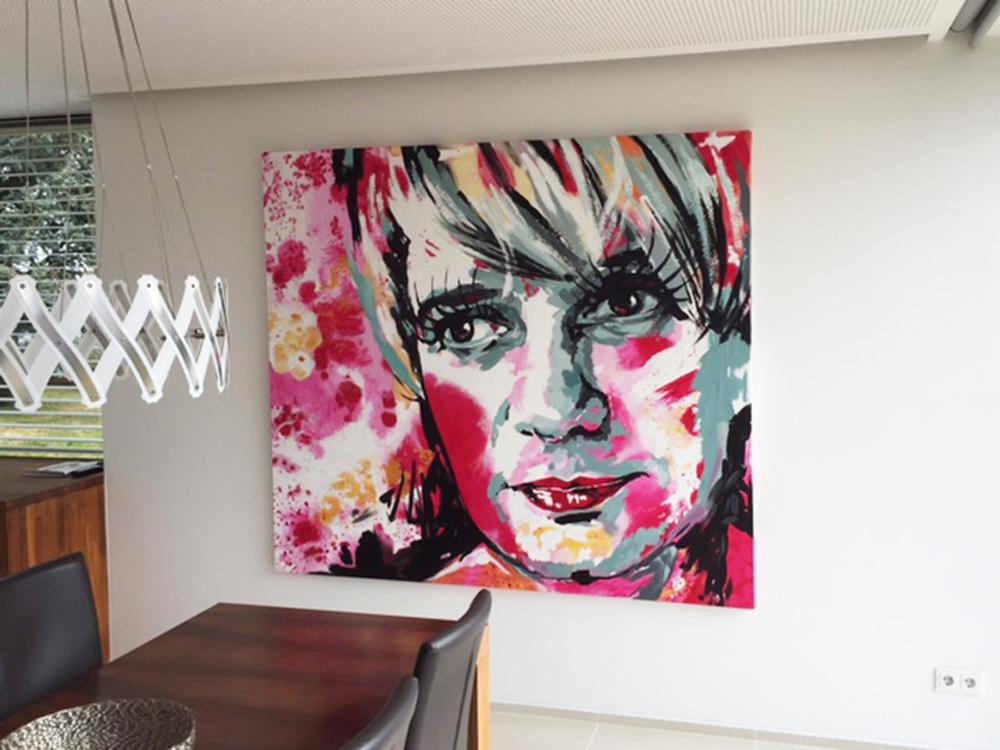 Pop Art Gemälde mit zwei Maedchen