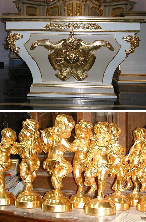 Vergoldungsarbeiten an religiösen Kunstobjekten