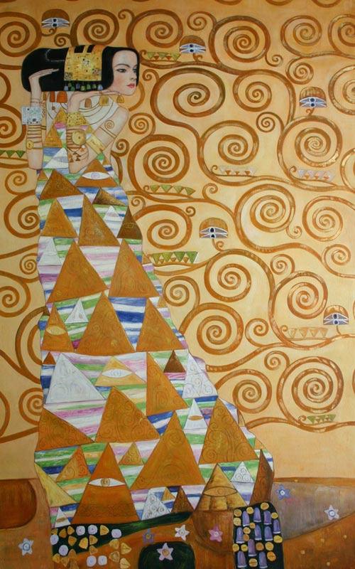 Gustav Klimt Ölgemälde Erwartung