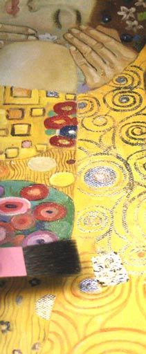 Gustav Klimt Oelgemaelde Auftragen der Vergoldung