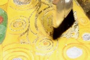 Gustav Klimt Gemaeldekopie Pinselauftrag Blattgold