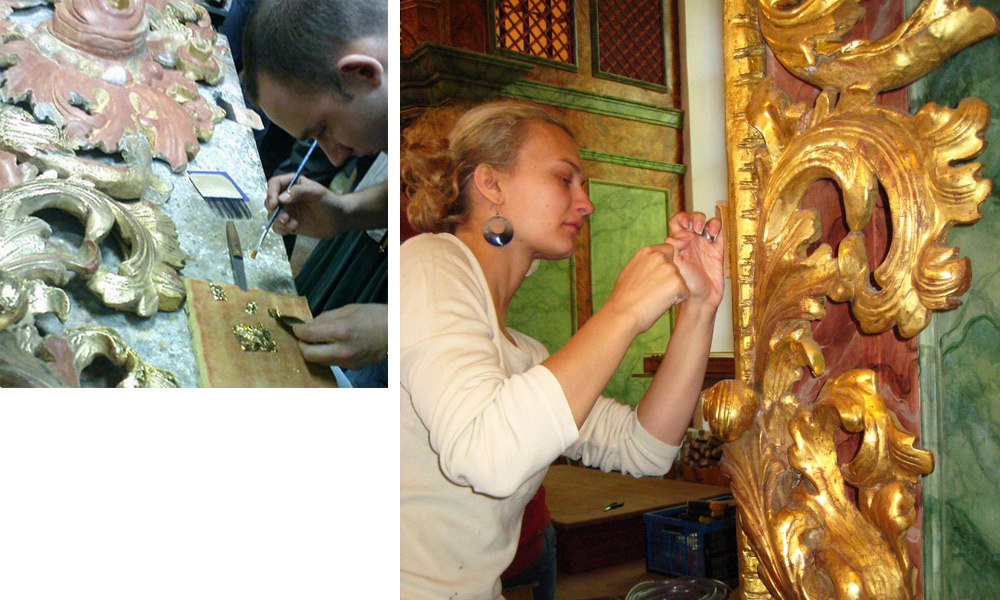 Vergoldung von Ornamenten und Restaurierung komplizierter Objekte