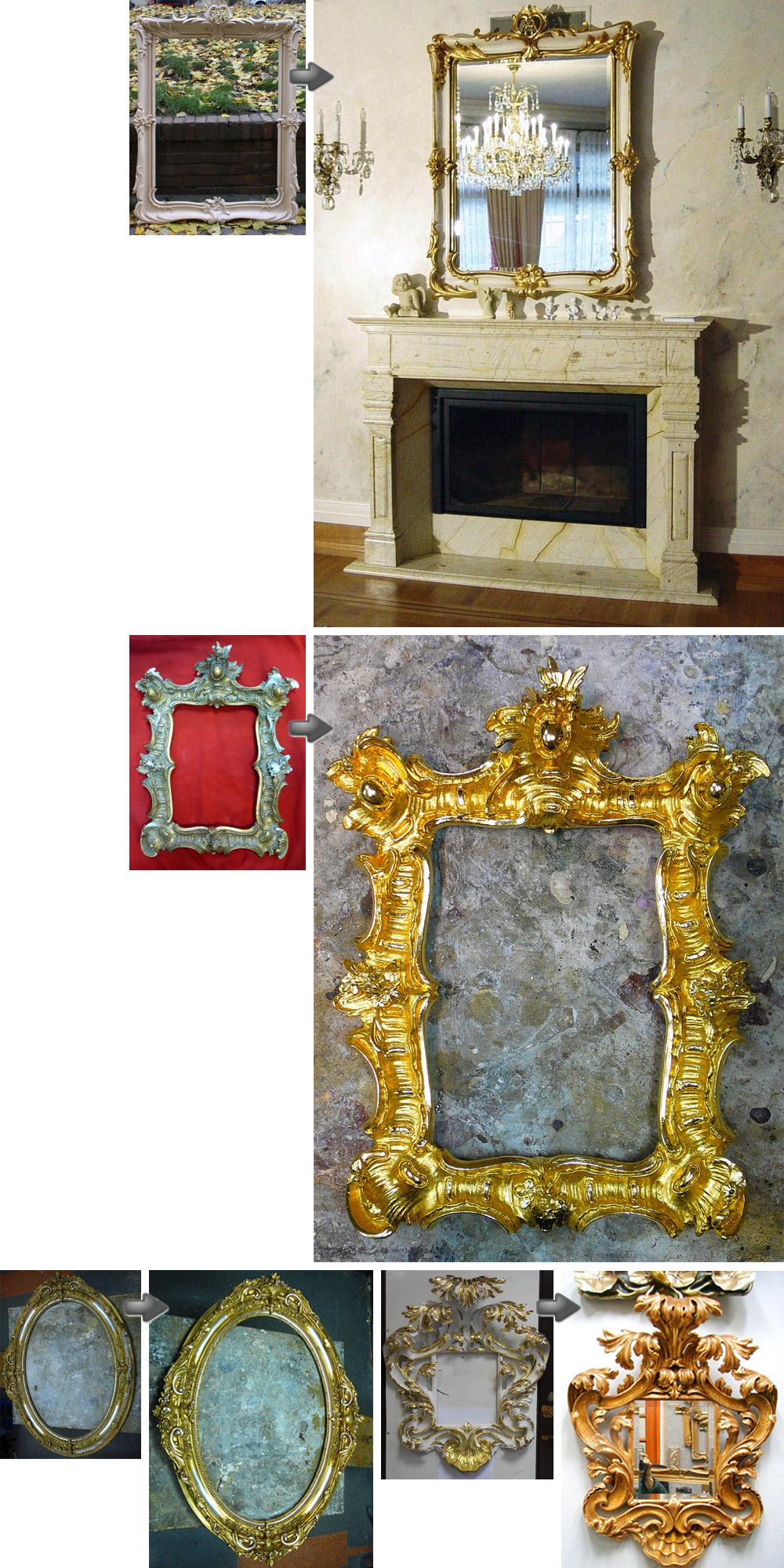 Photos der Rahmen vor und nach der Restauration